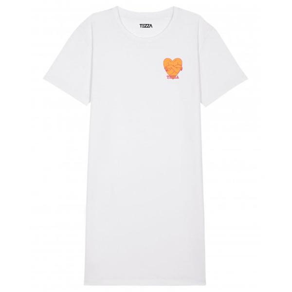 Mind T-shirt dress white
